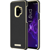 Estuche para Galaxy S9 - Color Saffiano Black/Placa dorada con logotipo